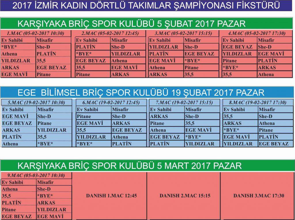 KADIN FİKSTÜR 2017 ŞBT
